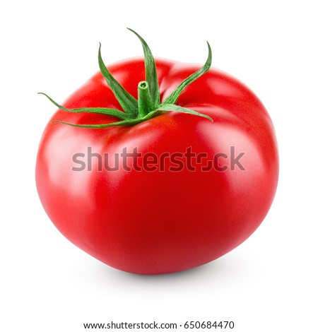 Tomato isolated on white background. With clipping path. Full depth of field. Royalty-Free Stock Photo #650684470