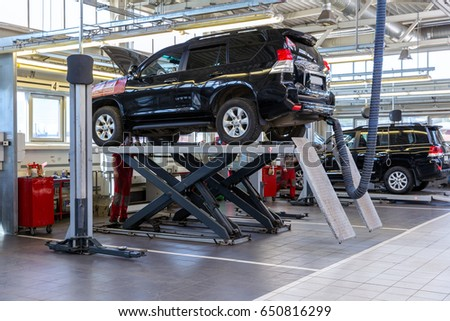 Moscow, Russia - May 26, 2017: Cars for repair service station #650816299