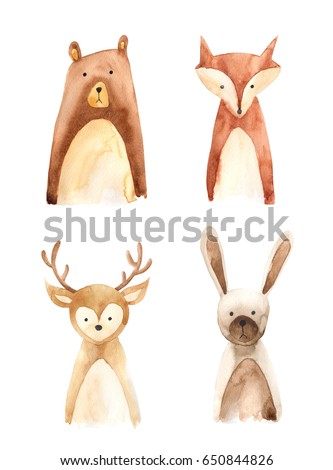 Set of 4 forest animals hand painted in watercolor
