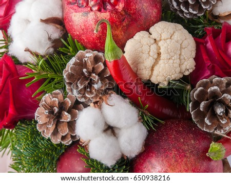 Fresh organic fruits and vegetables background #650938216