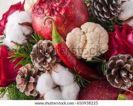 Variety of fresh raw organic fruits and vegetables . Christmas background #650938225