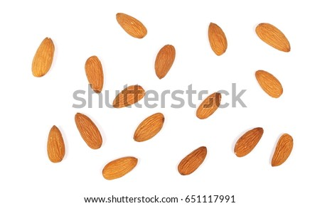 Almond nuts isolated on white background, top view #651117991
