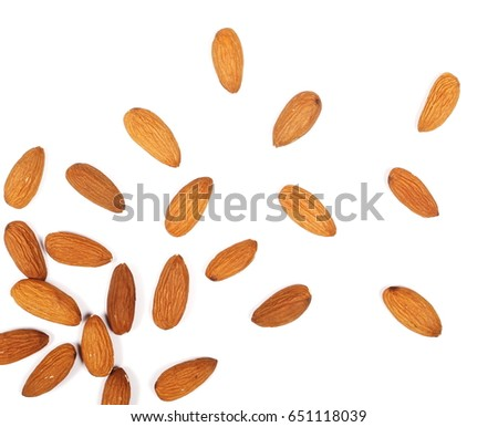Almond nuts isolated on white background, top view #651118039