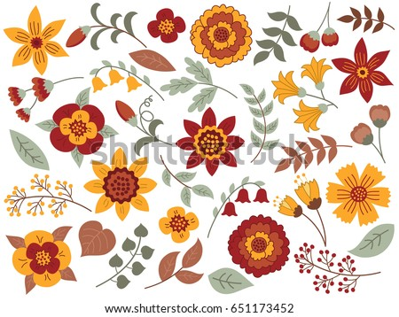 Vector autumn floral set. Colorful floral collection with yellow, terracotta flowers, leaves and berries. Floral elements for wedding. Autumn floral clipart. Vector illustration.