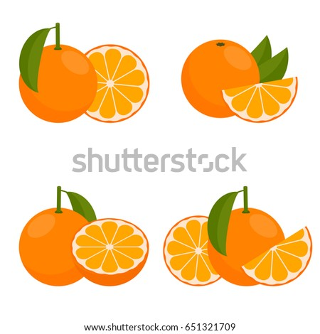 The Icon  Orange or Mandarin. Set with whole fruit and a half, with leaves and without. Vector illustration in a flat style. #651321709