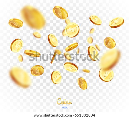 Realistic Gold coins explosion. Isolated on transparent background #651382804