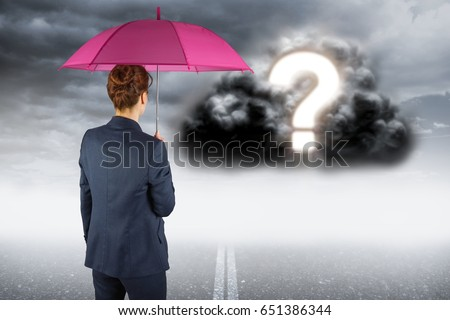 Digital composite of Digitally generated image of businesswoman with umbrella looking at question mark on cloud #651386344