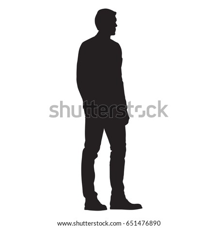 Man in jacket standing with hand in his pocket, side view, isolated vector silhouette Royalty-Free Stock Photo #651476890