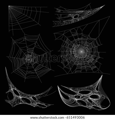Spiderweb or spider web cobweb on wall corner vector isolated icons #651493006