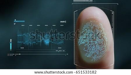 futuristic digital processing of biometric fingerprint scanner. concept of surveillance and security scanning of digital programs and fingerprint biometrics. cyber futuristic applications future voice #651533182