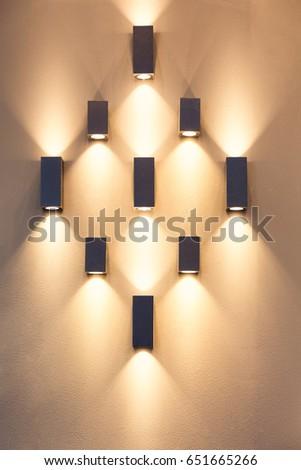 LED decoration lights idea on wall create shape with light and shadow. #651665266
