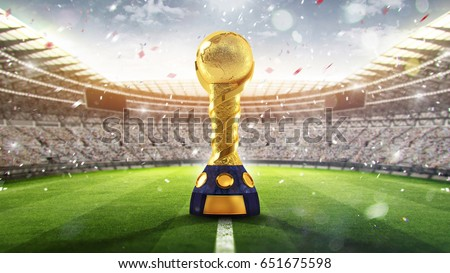 Confederations Cup. Golden trophy in the form of the globe. 2017. 3d render #651675598