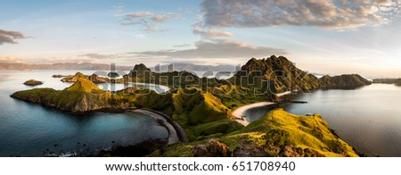 Landscape view from the top of Padar island in Komodo islands, Flores, Indonesia. #651708940