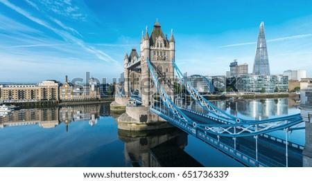 London Tower Bridge with skyline #651736339