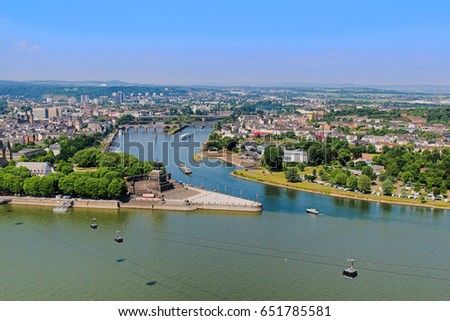 Koblenz, Germany - June 1, 2017; The famous Deutsches Eck (German corner) is one of the most visited landmark in the Rhineland- Palatinate.  #651785581