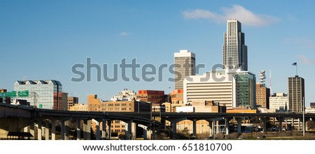 Omaha Nebraska Downtown City Skyline Highway Overpass