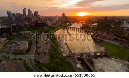 Minneapolis Minnesota at Sunset over the Mississippi River