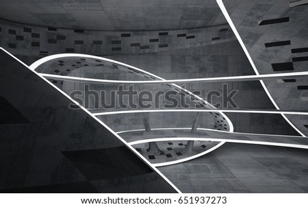 Empty dark abstract concrete room smooth interior. Architectural background. Night view of the illuminated. 3D illustration and rendering #651937273