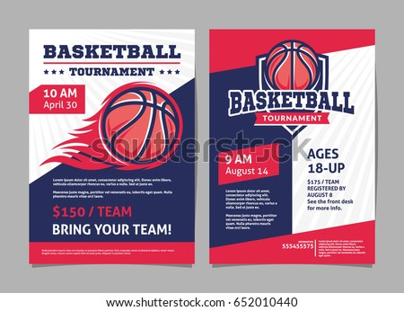 Basketball tournament posters, flyer with basketball ball - template vector design