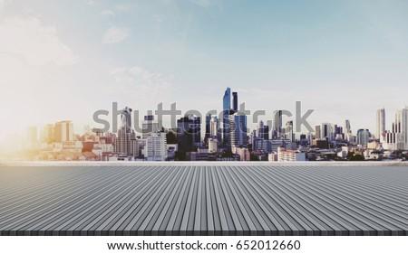 City skyline in sunrise, city background #652012660