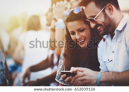Friends having fun outdoors and are happy #652039126