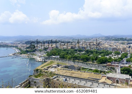 Panoramic aerial view of  Kerkyra, Corfu island in Greece. View from Old Fortress. #652089481