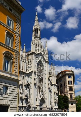 Church of the Sacred Heart of Jesus in Rome, built in neogothic style in 1917