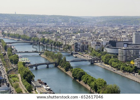 Aerial view from Eiffel Tower on Paris, France #652617046