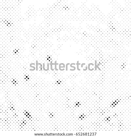 Grunge Halftone Vintage Vector Background. Ink Dots Texture Design Element. Easy To Create Abstract Dirty, Damaged,  Dotted, Spotted, Circles Effect. Aging Dots Overlay. Round Particles Backdrop  #652681237