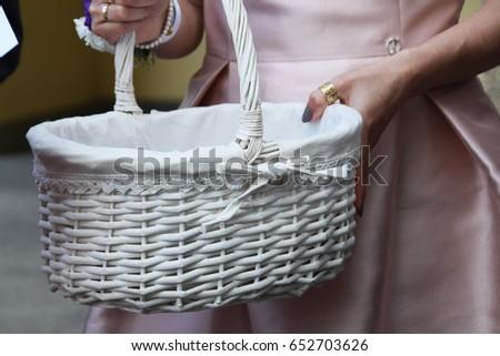White wicker basket #652703626