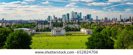 Panorama Cityscape View from Greenwich, London, England, UK. #652824706