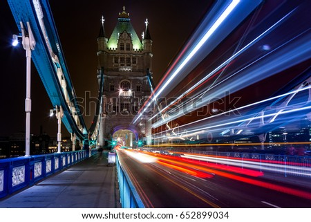 Beautiful Long exposure image of Tower Bridge in London taken at Night when no one around