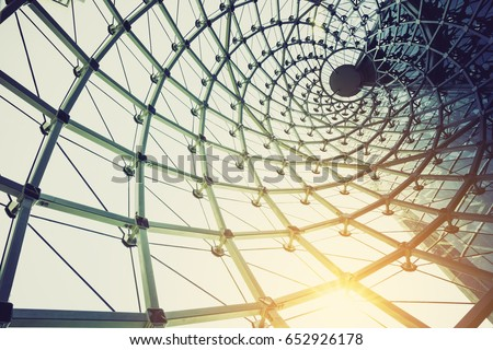 building construction of metal steel framework outdoors with sunlight #652926178