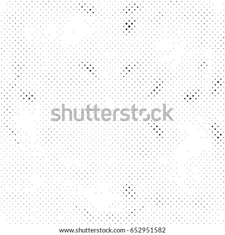 Grunge Halftone Vintage Vector Background. Ink Dots Texture Design Element. Easy To Create Abstract Dirty, Damaged,  Dotted, Spotted, Circles Effect. Aging Dots Overlay. Round Particles Backdrop  #652951582