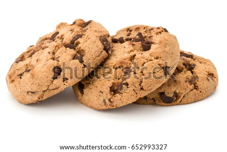 Three Chocolate chip cookies isolated on white background. Sweet biscuits. Homemade pastry. #652993327