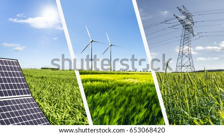 Renewable energies concept collage with solar panel wind mills and electrical energy infrastucture #653068420