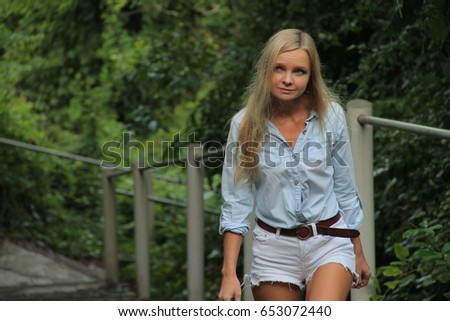 Russian blonde model in the forest of Bali Indonesia #653072440