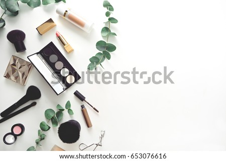 image of make up products on white background  Royalty-Free Stock Photo #653076616
