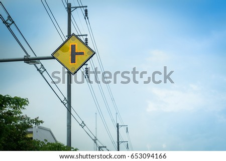 Traffic intersections sign on blue sky background. #653094166