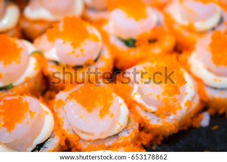 Salmon Roll with cavier and Shrimp, Japanese Food #653178862