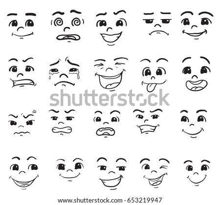 cartoon faces vector drawn set