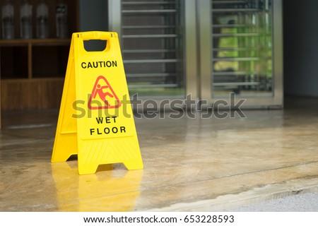 Sign showing warning of caution wet floor.Wet floor sign.