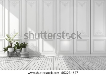 3d rendering empty white classic room with nice wall panel and plant and wood floor #653234647