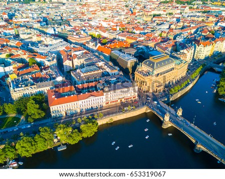 Beautiful panoramic aerial view of the Prague city from above with the old town and Vltava river. Amazing city panoramic view.  #653319067