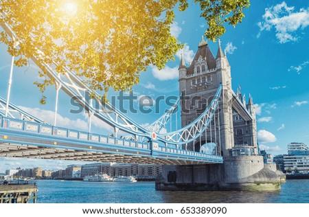 Tower Bridge in London in a beautiful summer day, England, United Kingdom #653389090