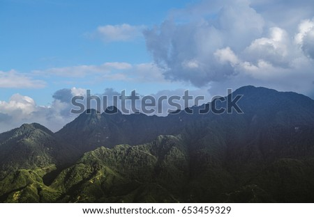 Vietnam Sapa, Tropical forest and mountain in the mist in Sapa , Vietnam. #653459329
