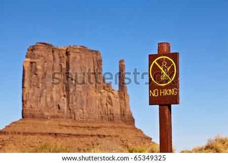 No hiking sign in the desert. #65349325
