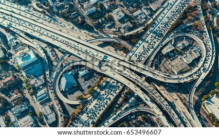 Aerial view of a massive highway intersection in Los Angeles Royalty-Free Stock Photo #653496607