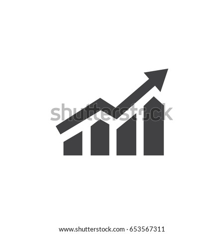 Growing bar graph icon in black on a white background. Vector illustration Royalty-Free Stock Photo #653567311