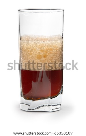 cola in glass against white background, natural shadow in front #65358109